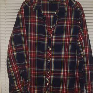 Plus size plaid button shirt
